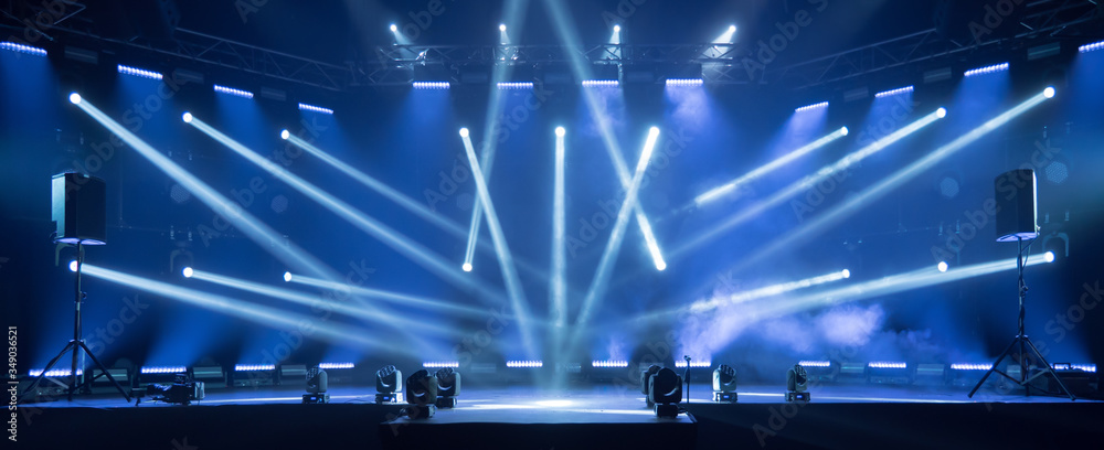 Fototapeta Stage for live concert Online transmission. Business concept for a concert online production broadcast in realtime as events happen. Stage for online live concert Concert live streams available online