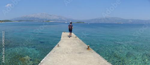 Fototapeta Panoramic view of the landscapes, the coast and the crystalline water on the island of Korcula, Dalmatian Coast, Croatia