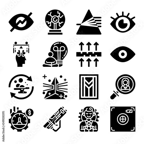 Photo Set of 16 absorption filled icons
