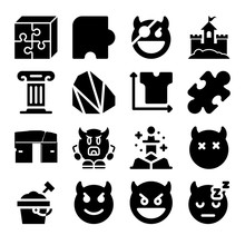 Set Of 16 Gravel Filled Icons