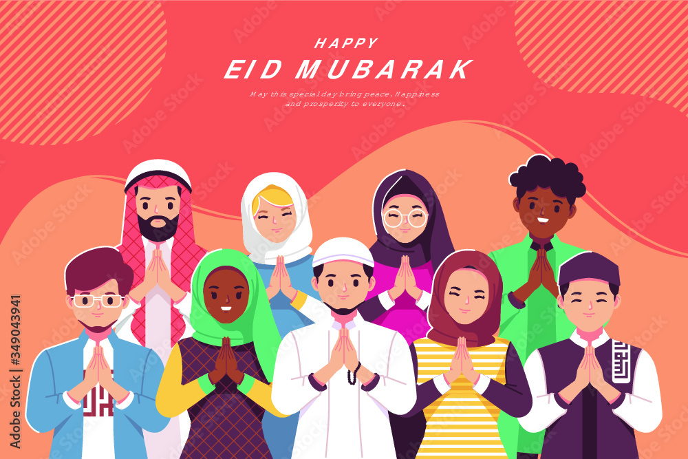 Fototapeta Eid Mubarak Cartoon Greeting Card