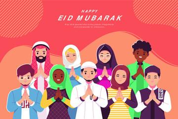 Obraz na PlexiEid Mubarak Cartoon Greeting Card