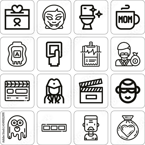 Photo Collection of 16 aunt lineal icons