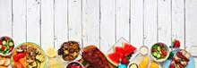 Summer BBQ Or Picnic Food Long...