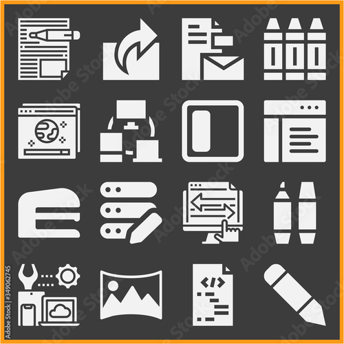 Collection of 16 articulation filled icons Wallpaper Mural