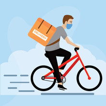 Delivery Man In A Bicycle