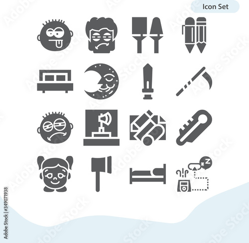 Simple set of abrupt related filled icons. Canvas Print