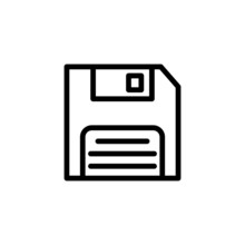 Floppy Disk Icon On White Background Vector Illustration For Website, Mobile Application, Presentation, Infographic, Diskette Savecon Cept Sign, Black Line Art Style Icon Vector Illustration