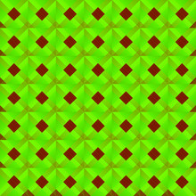 Graphic Stylish Pattern With Dark Squares And Green Rhombuses In A Checkerboard Pattern.