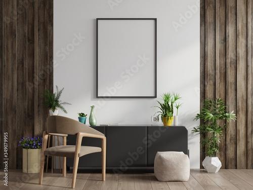 Fototapeta Mock up poster frame on cabinet in interior. obraz