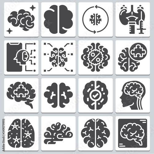 Pituitary icons set ? simple set of 16 Canvas Print