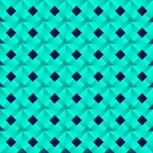 Graphic Stylish Pattern With Dark Squares And Light Blue Rhombuses In A Checkerboard Pattern.