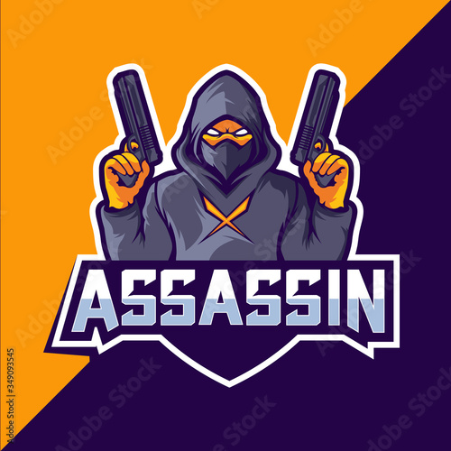 Photo Assassin with guns mascot esport logo