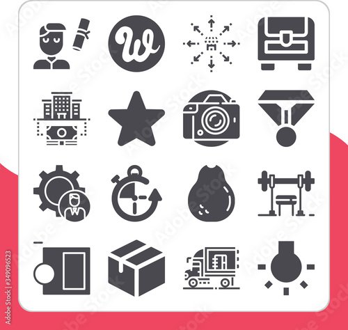 Collection of 16 allocation filled icons Canvas Print