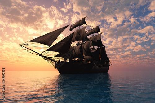 Fototapeta Sailboat in the sea.