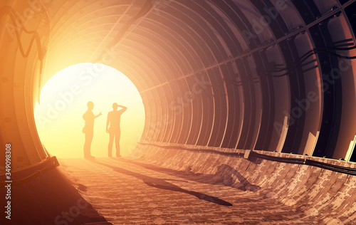 Photo Workers in mine, 3d render
