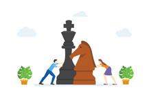 Men And Women Play Big Chess P...