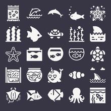 Set Of 25 Aquarium Filled Icons
