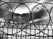 Close-up Of Barbed Wire Fence By Sea Against Cloudy Sky