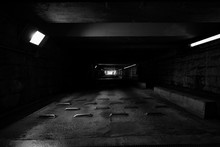 Electric Lights In Empty Tunnel