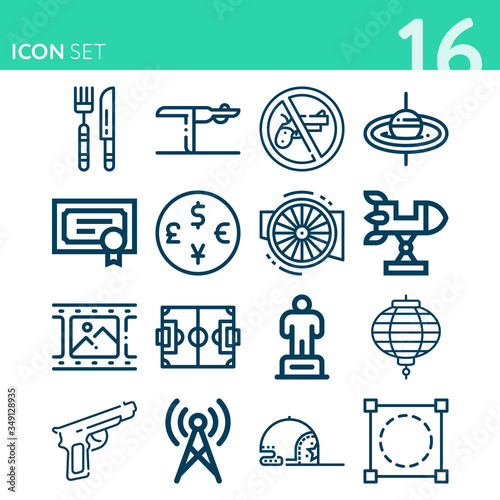 Simple set of 16 icons related to pistol Canvas Print