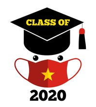 Class Of 2020 Text, Graduation Cap, Protection Face Mask, Vietnamese Flag, Template For Graduation Design, Yearbook