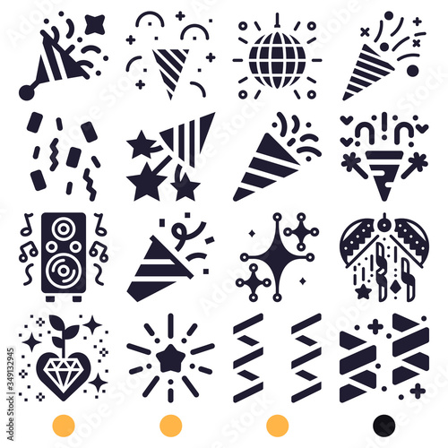 Simple set of 16 filled icons on following themes {ico_titles} фототапет