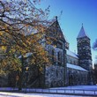 Low Angle View Of Lund Cathedral Against Clear Blue Sky