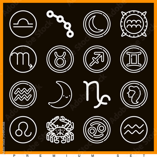Obraz na plátne Set of 16 horoscope lineal icons