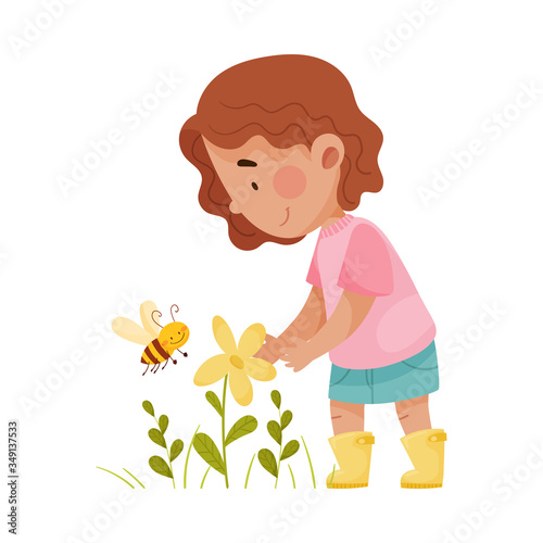 Fotografering Cute Girl Standing and Exploring Flora and Fauna Vector Illustration