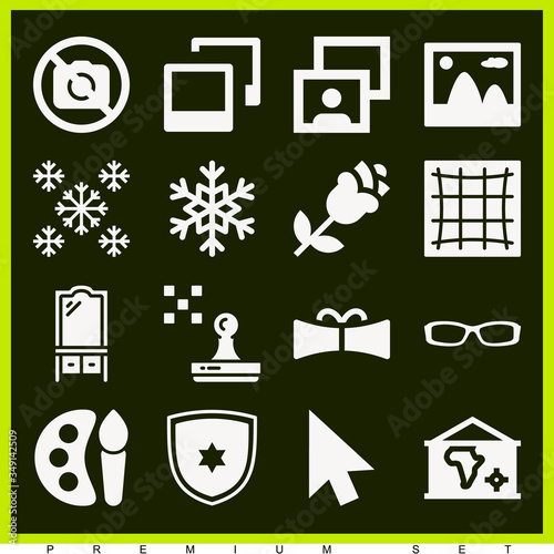 Fotografija Set of 16 deceive filled icons