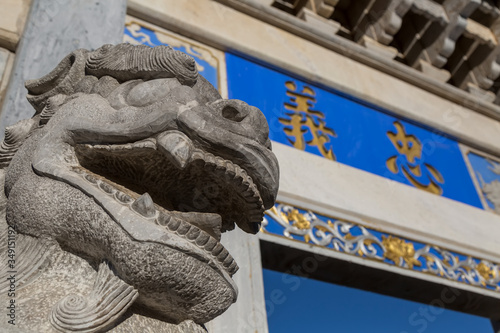 Stone lion in front of Confucian Temple Canvas-taulu