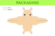 Adorable DIY party favor box for birthdays, baby showers with cute jerboa for sweets, candies, small presents, bakery. Printable color scheme. Print, cut out, fold no glue. Vector stock illustration.