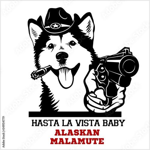 Alaskan Malamute dog with gun - Alaskan Malamute gangster Canvas Print