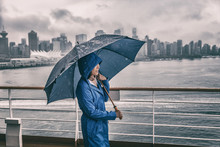 Rain Storm Asian Woman Outside With Umbrella Watching Vancouver City On Cruise Ship Background.