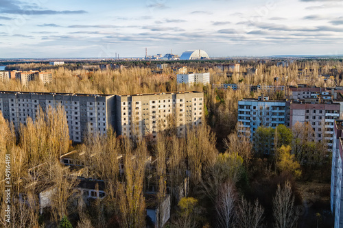 View from roof of 16-storied apartment house in Pripyat town, Chernobyl Nuclear Canvas Print