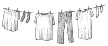 Hanging Clothes Illustration, Drawing, Engraving, Ink, Line Art, Vector