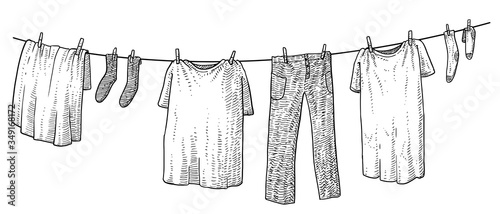 Obraz Hanging clothes illustration, drawing, engraving, ink, line art, vector - fototapety do salonu
