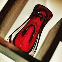 Color-les And Red Glass Vase