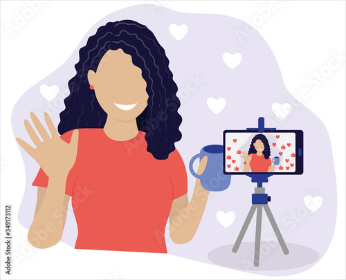 Woman Blogger Communication with Followers and Subscribers Trendy Flat Vector Illustration Fototapeta