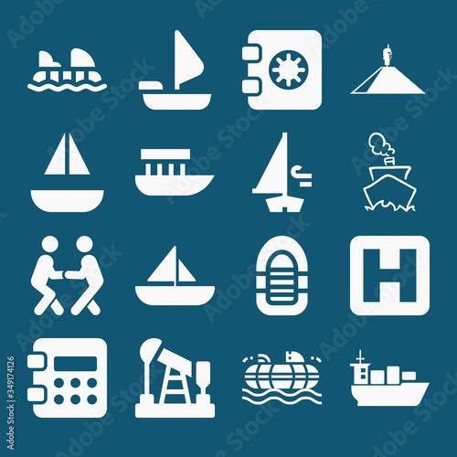 Photo Set of 16 ashore filled icons