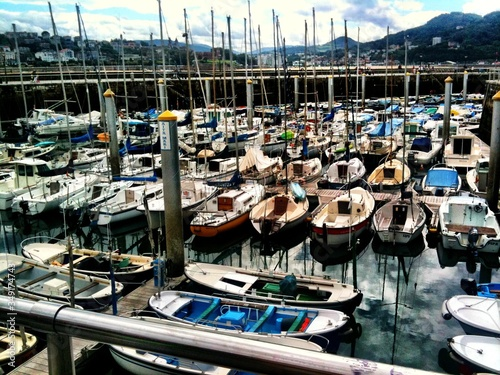Carta da parati Boats Moored In Harbor