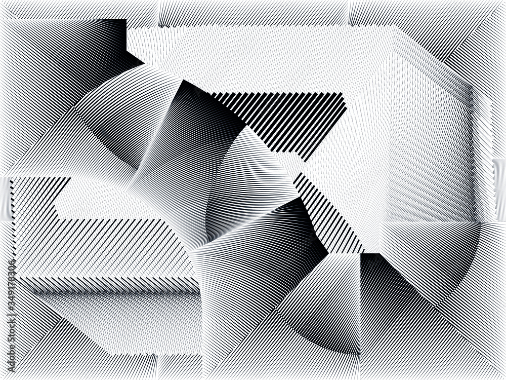 Abstract halftone lines background, geometric dynamic pattern, vector modern design texture.