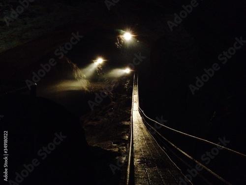 Canvas Print Wet Footbridge At New Athos Cave