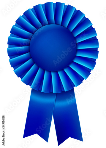 Valokuva A blue first place prize ribbon. Vector illustration.