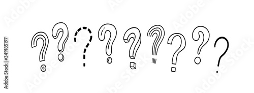 Fototapeta Set of handwritten question marks