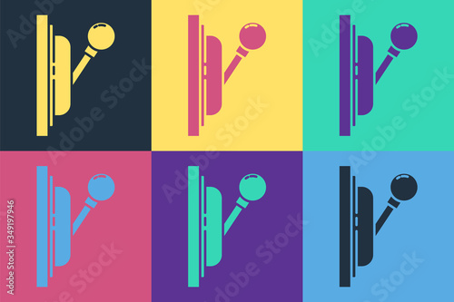 Fotografía Pop art Electrical panel icon isolated on color background