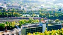 Tilt Shift Image Of Train In City