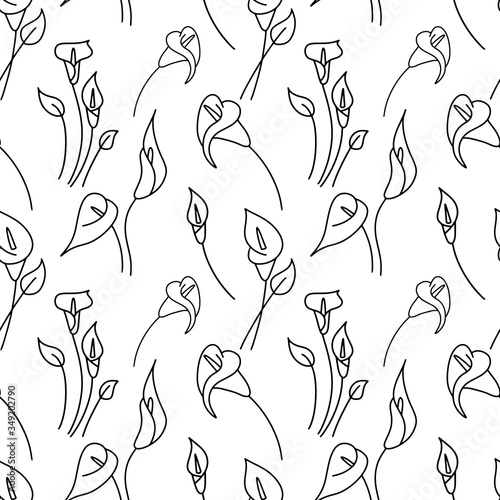 Stampa su Tela Doodle calla lilies seamless pattern isolated on white