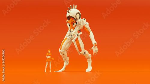 Futuristic AI Hunter Droid Cyborg Mech White an Orange with Female Handler Left Canvas Print